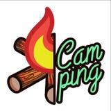 Color vintage Camping emblem Royalty Free Stock Image