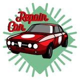 Color vintage Car repair emblem Royalty Free Stock Photography