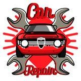 Color vintage Car repair emblem Royalty Free Stock Images