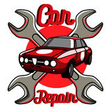 Color vintage Car repair emblem Stock Photos