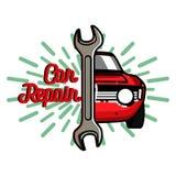 Color vintage Car repair emblem Stock Photo