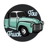Color vintage car tow truck emblem Stock Photography