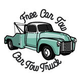Color vintage car tow truck emblem Royalty Free Stock Photography