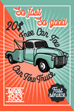 Color vintage car tow truck poster Stock Photos