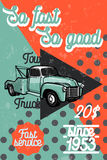 Color vintage car tow truck poster Royalty Free Stock Photography