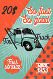Color vintage car tow truck poster Royalty Free Stock Image