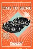 Color vintage car wash banner Royalty Free Stock Images
