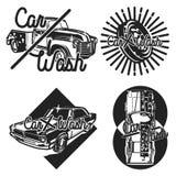 Color vintage car wash emblems Stock Image