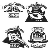 Color vintage carnival costumes rent emblems Stock Photography