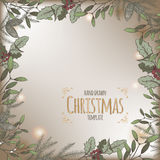 Color vintage Christmas background template with pine and mistletoe Stock Photo