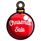 Color vintage Christmas sale emblem. On white background. Vector illustration, EPS 10 Royalty Free Stock Photo