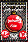 Color vintage Christmas sale poster. Merry Christmas sale promotion display poster. Postcard. Vector illustration, EPS 10 Stock Photo