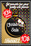 Color vintage Christmas sale poster. Merry Christmas sale promotion display poster. Postcard. Vector illustration, EPS 10 Royalty Free Stock Photo