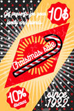 Color vintage Christmas sale poster. Merry Christmas sale promotion display poster. Postcard. Vector illustration, EPS 10 Stock Images