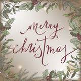 Color vintage Christmas template with mistletoe frame and holiday lettering. Stock Photos
