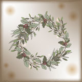 Color vintage Christmas template with mistletoe and pine wreath decorations. Stock Photo