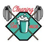 Color vintage cleaning service emblem Stock Images