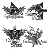 Color vintage cooking school emblems Stock Images