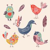 Color vintage cute cartoon birds doodle set Royalty Free Stock Image