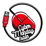 Color vintage cyber monday emblem Stock Photography