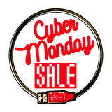 Color vintage cyber monday emblem Royalty Free Stock Photos