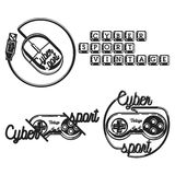 Color vintage cyber sport emblems. Labels, badges and design elements. Logo for cybersport discipline or cybersport team Stock Photos