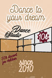 Color vintage dance studio banner. Dancing icon. Modern dance Stock Photo