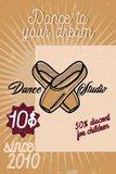 Color vintage dance studio banner. Dancing icon. Modern dance Stock Image