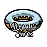 Color vintage donuts store emblem Royalty Free Stock Photography