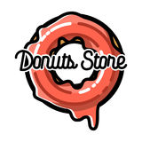 Color vintage donuts store emblem Stock Photo