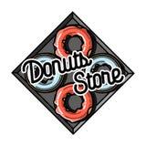 Color vintage donuts store emblem Royalty Free Stock Image