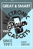 Color vintage electronic gadgets banner Royalty Free Stock Photos