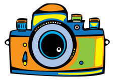 Color vintage film camera isolated on white. Background Stock Images
