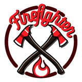 Color vintage fireman emblems Stock Images