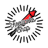 Color vintage fireworks shop emblem Royalty Free Stock Photography