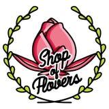 Color vintage flower shop emblem Royalty Free Stock Photography