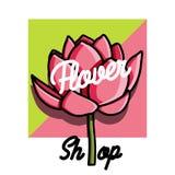 Color vintage flower shop emblem Stock Photo