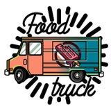 Color vintage Food truck emblem Royalty Free Stock Photo
