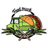 Color vintage Food truck emblem Stock Photography