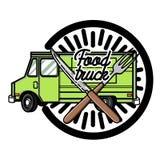 Color vintage Food truck emblem Royalty Free Stock Photos