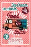 Color vintage Food truck poster Stock Images