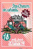 Color vintage Food truck poster Stock Photography
