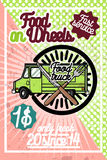 Color vintage Food truck poster Royalty Free Stock Images