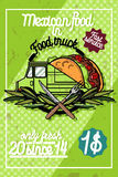 Color vintage Food truck poster Royalty Free Stock Photo