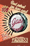 Color vintage gas station poster Stock Photos
