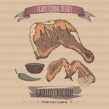 Color vintage grilled chicken template placed on cadboard background. Royalty Free Stock Photos