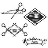 Color vintage hairdresser salon emblems Stock Images