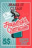 Color vintage household chemicals banner Royalty Free Stock Images