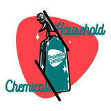 Color vintage household chemicals emblem Royalty Free Stock Images