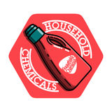 Color vintage household chemicals emblem Royalty Free Stock Photos